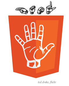 HTML 5 logo in sign language by Ted Drake, flickr