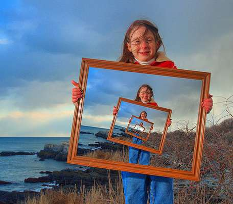 Girl with lighthouse image at multiple sizes