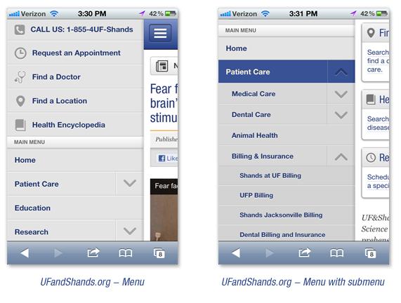 UFandShands.org Mobile Screenshots