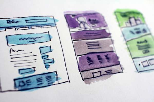 Watercolor image of wireframes for a website